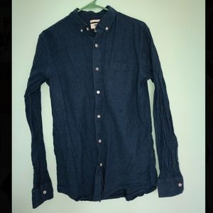 Blue button down long sleeve t-shirt